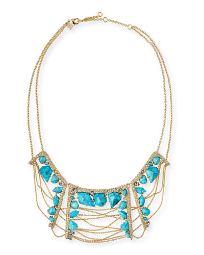 Howlite Draping-Chain Bib Necklace