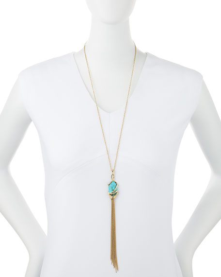 Turquoise-Hued Howlite Tassel Necklace