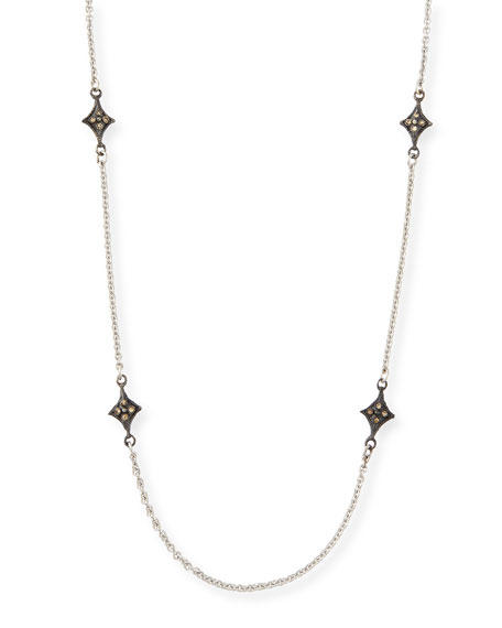 Armenta Old World Crivelli Station Necklace with Aquamarine & Pearls AuOu2wt
