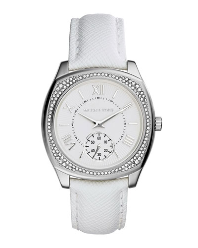 Bryn Stainless Leather-Strap Watch, White