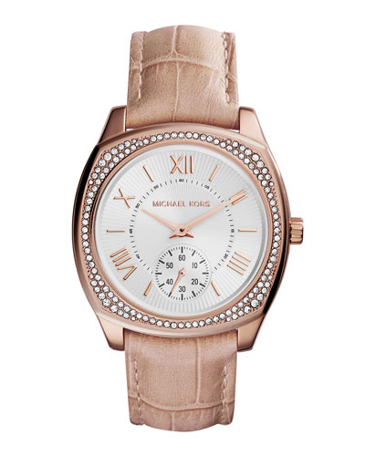 Bryn Leather-Strap Glitz Watch, Rose Golden