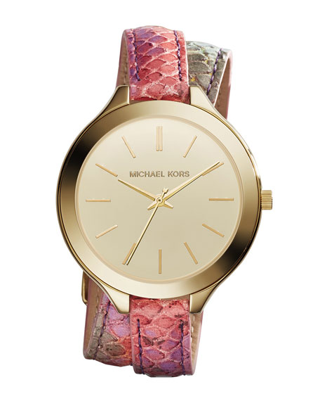 Runway Double-Wrap Python-Print Leather Watch