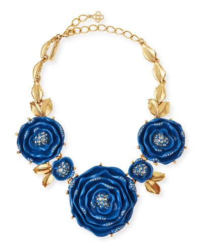 Resin Crystal Necklace, Cobalt