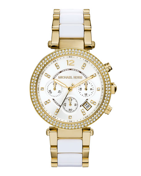 Michael Kors Parker Golden Stainless Steel Glitz Watch