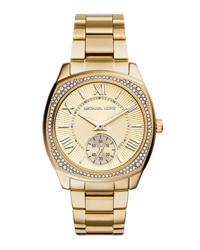 Bryn Golden Stainless Steel Glitz Watch