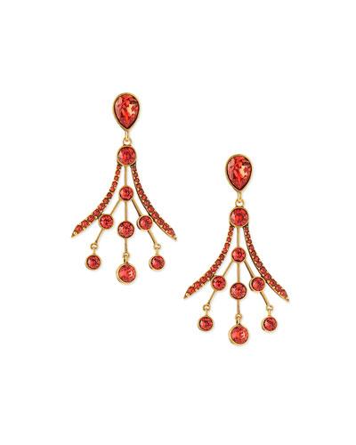 Crystal Fan Drop Earrings