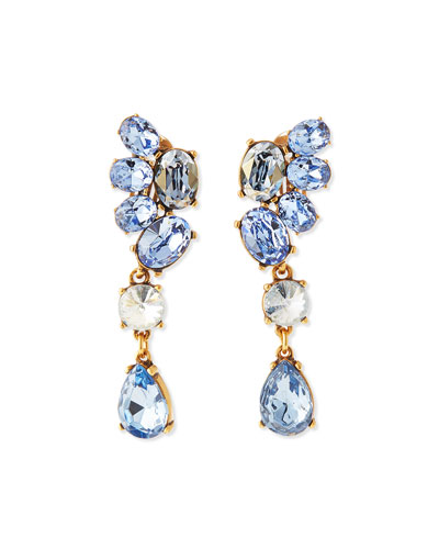 Asymmetric Crystal Earrings, Blue