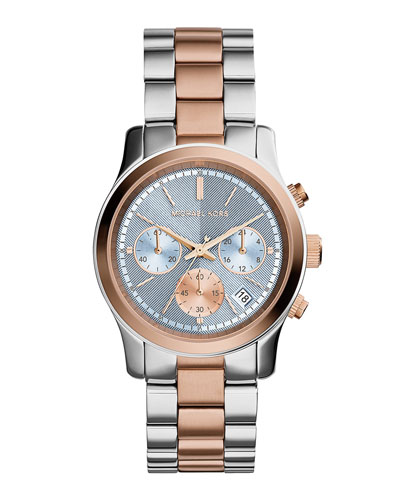 Runway Two-Tone Stainless Steel Watch, Rose Golden/Silver