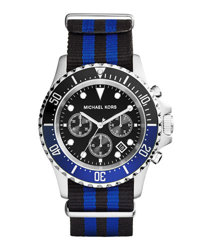 Everest Grosgrain-Strap Watch, Blue/Black
