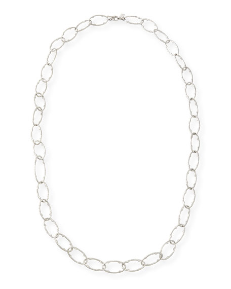 New World Silver Pointed Oval Link Necklace