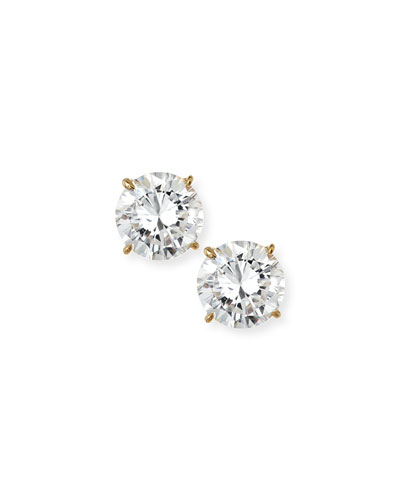 14kt Solid Yellow Gold CZ Stud Earrings, 3.5 tcw