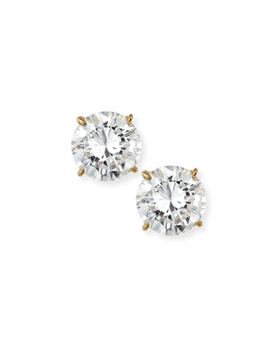 18kt Yellow Gold Plating CZ Stud Earrings, 5 tcw