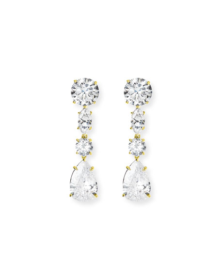 FANTASIA BY DESERIO Clear Drop Earring in Gold