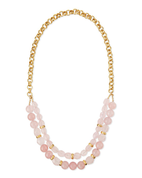 Devon Leigh Rose Quartz Double-Strand Necklace