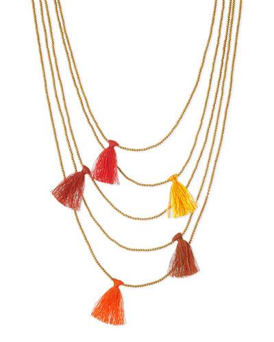 Multi-Strand Beaded Tassel Necklace