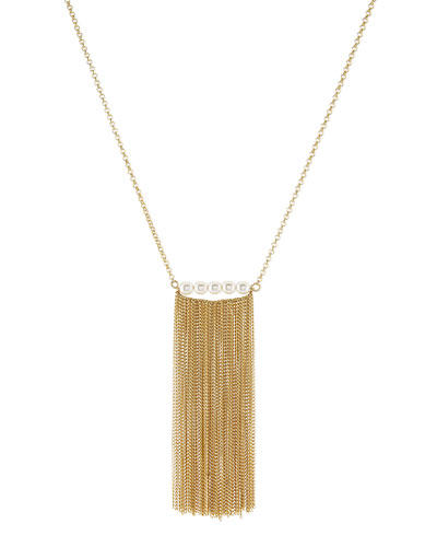 Simulated Pearl Fringe Necklace