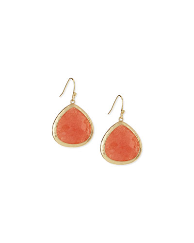 Quartz Teardrop Earrings, Coral