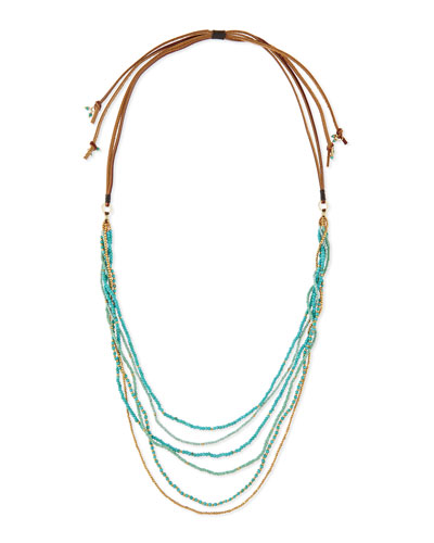 Multi-Strand Beaded Necklace, Turquoise