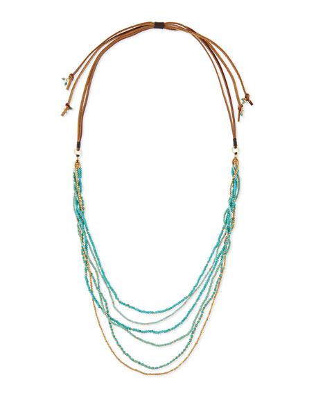 nakamol multi strand beaded necklace turquoise