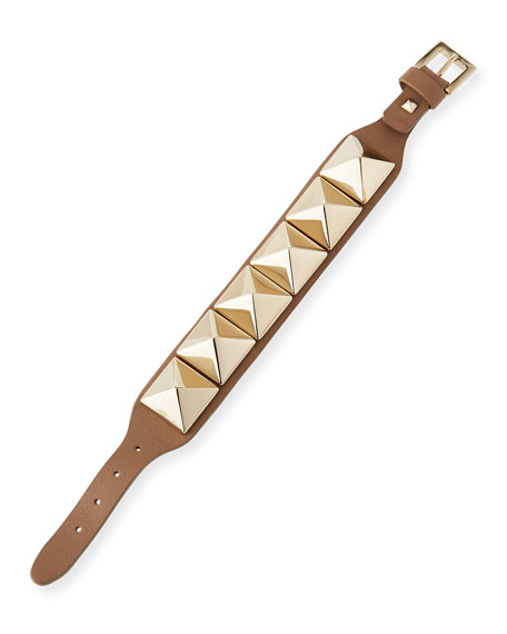 Va Va Voom Leather Rockstud Bracelet, Alpaca