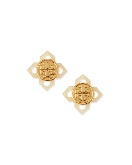 Babylon Resin Logo Stud Earrings