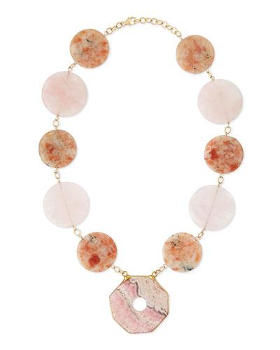 Multi-Stone Statement Necklace, Pink