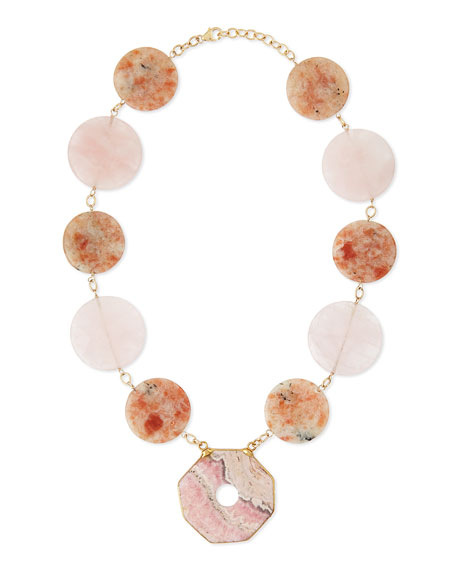 Devon Leigh Multi-Stone Statement Necklace, Pink