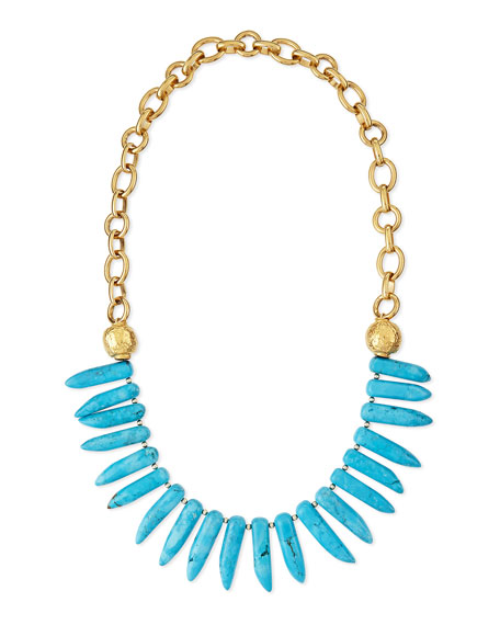 Devon Leigh Turquoise Spike Long Necklace