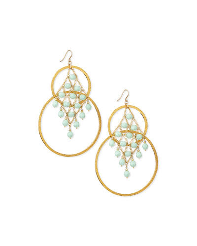 Amazonite Hammered Double-Hoop Earrings, Aqua