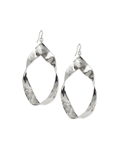 Devon Leigh Twisted Rhodium-Plated Hoop Earrings