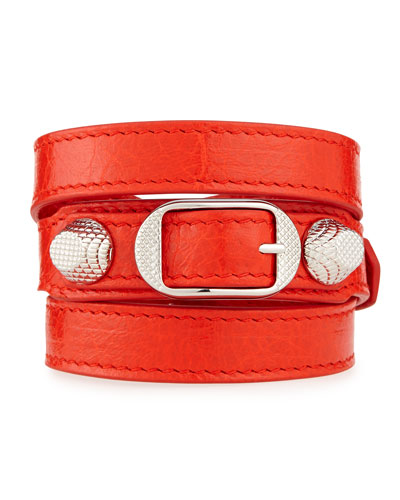 Giant 12 Leather Bracelet, Red