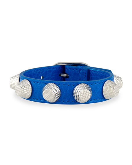 Giant 12 Leather Bracelet with Studs, Blue