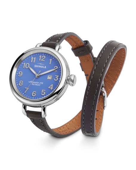Birdy Leather Double-Wrap Watch, 34mm, Blue/Gray