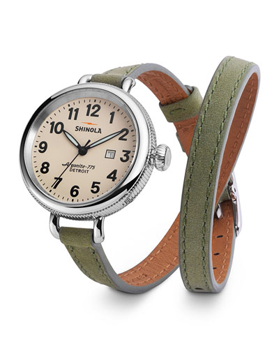 Birdy Leather Double-Wrap Watch, 34mm