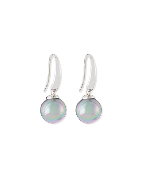 Gray Pearl Silver Drop Earrings