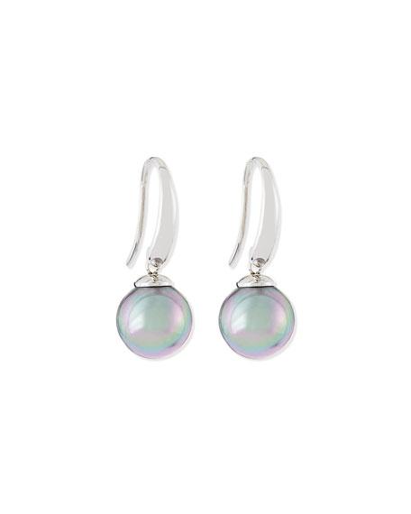 Gray Pearl Silver Drop Earrings
