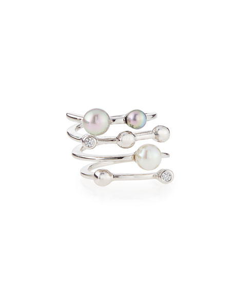 MajoricaFour Row Multi-Pearl Ring
