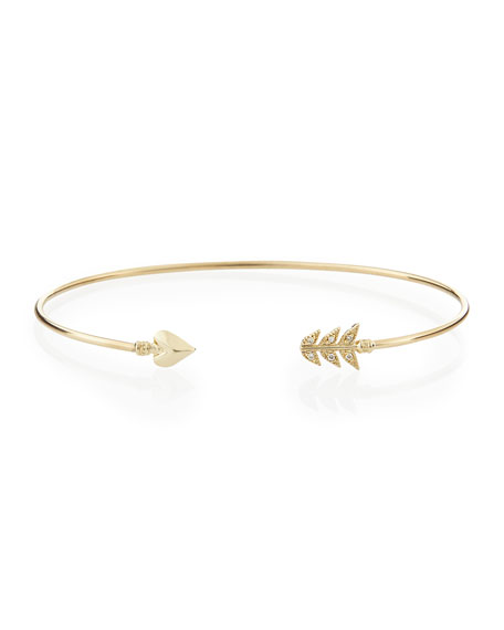 Image 1 of 1: 14-Karat Gold Diamond Arrow Cuff