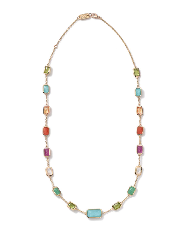 Ippolita 18k Rock Candy Multi-Row Rainbow Bib Necklace 7xC68qxdLN
