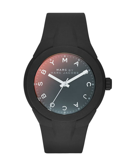 38mm X-Up Silicone Watch, Black