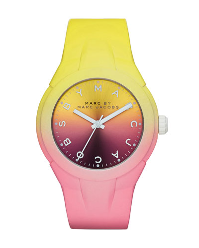 38mm X-Up Ombre Watch, Yellow/Pink