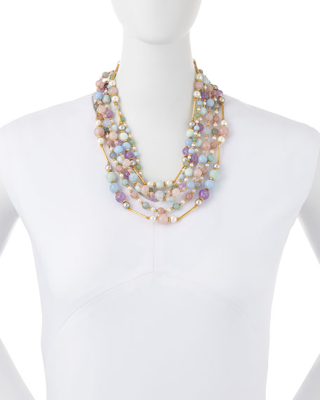 Multi-Strand Pastel Beaded Necklace