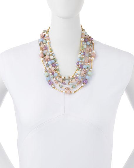 Multi-Strand Pastel Beaded Necklace