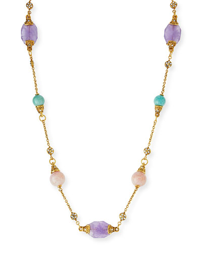 24k Gold Plated Pastel Station Necklace