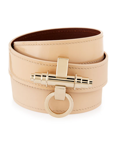 Obsedia Triple-Wrap Leather Bracelet, Beige