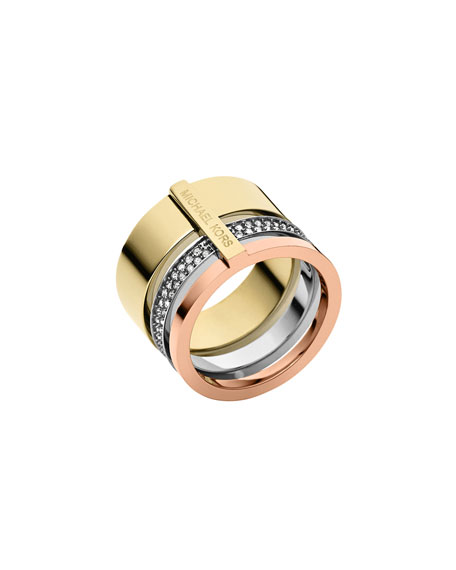 Tricolor Pave Barrel Ring