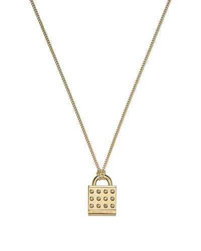 Astor Pave Padlock Pendant Necklace