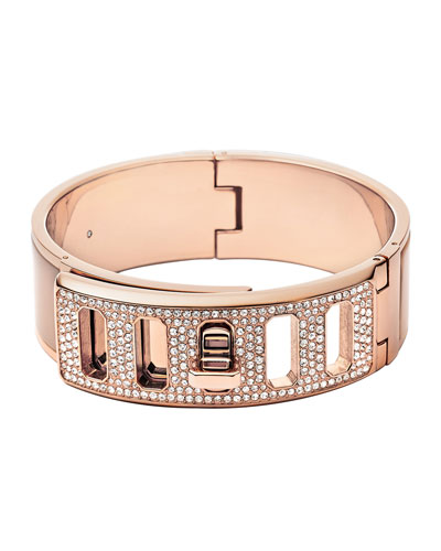 Rose Golden Pave Turn-Lock Bangle