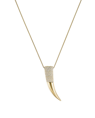 Golden Pave Horn Pendant Necklace