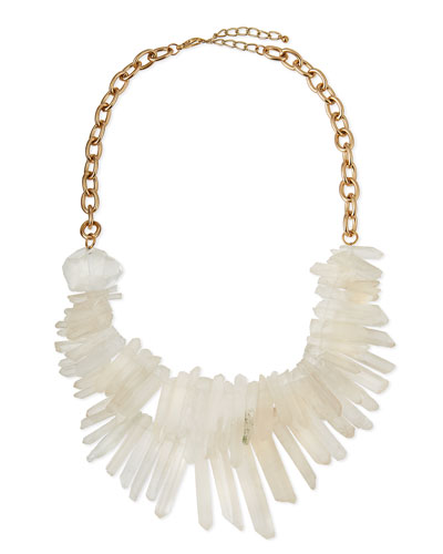 Two-Strand Prism Bib Necklace, White